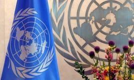 Narody Zjednoczone flaga w biurze UN Lokuje w Nowy Jork Zdjęcia Royalty Free