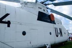 Narody Zjednoczone ocechowanie na Mil Mi-26 helikopterze zdjęcia stock