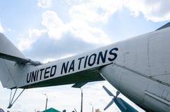 Narody Zjednoczone ocechowanie na Mil Mi-26 helikopterze zdjęcie stock