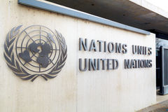 Narody Zjednoczone pałac podpisuje wewnątrz Genewa Zdjęcia Stock
