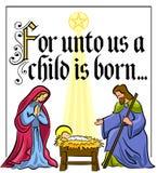 Narodzenie Jezusa bożenarodzeniowy Werset Zdjęcie Royalty Free