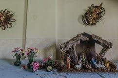 Narodzenie Jezusa kwiaty i scena zdjęcia royalty free