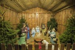 Narodzenie Jezusa scena przy bożymi narodzeniami Wprowadzać na rynek Poznański 2017 fotografia stock