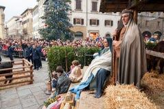 Narodzenie Jezusa scena w Katedralnym kwadracie Florencja zdjęcia stock