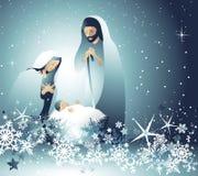 Narodzenie Jezusa scena z świętą rodziną royalty ilustracja