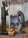 Narodzenie Jezusa scena z świętą rodziną od Angola w afrykanina stylu Fotografia Stock