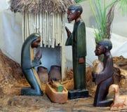 Narodzenie Jezusa scena z świętą rodziną od Angola w afrykanina stylu Zdjęcie Stock