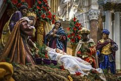 Narodzenie Jezusa sceny Cadiz katedra Hiszpania obrazy royalty free