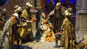 Narodzenie Jezusa sceny dziecko i dziewica zdjęcia royalty free