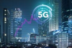 Narosły używa szybka internet sieć 5G technologii system w centrum biznesu miasto Dżakarta który pokazuje, obrazy stock