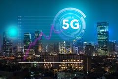 Narosły używa szybka internet sieć 5G technologii system w centrum biznesu miasto Dżakarta który pokazuje, obraz royalty free