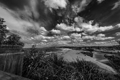 Narrabeen Beach Lake Inlet. Looking down to Narrabeen beach and inlet to the lake Royalty Free Stock Photos