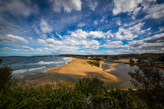 Narrabeen Beach Lake Inlet Royalty Free Stock Photos