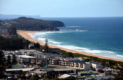 Narrabeen beach in winter time from Collaroy Plateau. Sydney, AUSTRALIA - Aug 3, 2014. Narrabeen beach in winter time from Collaroy Plateau Stock Image