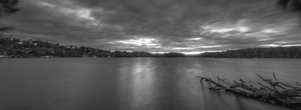 Narrabeen Lake at Sunset. Black and White view of Narrabeen Lake at sunset Royalty Free Stock Image