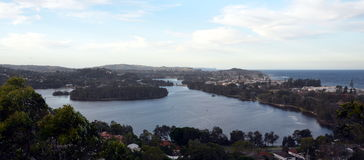 Narrabeen Lakes from Collaroy Plateau. (Sydney, NSW, Australia Stock Photos