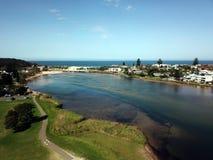 Narrabeenlagune, systeem van het de Stranden grootste estuarium van Sydney het Noordelijke royalty-vrije stock foto