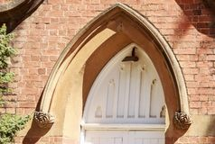 Narrandera – St John Uniting Church. Detail of the arch above the door of St John Uniting Church in Narrandera, New South Wales, Australia stock image