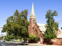 Narrandera – St John Uniting Church. St John Uniting Church opened in 1908 and was built in Federation Gothic style with a cruciform roof plan and bell royalty free stock photography
