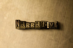 NARRATIVE - close-up of grungy vintage typeset word on metal backdrop. Royalty free stock illustration.  Can be used for online banner ads and direct mail Royalty Free Stock Photos