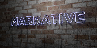 NARRATIVE - Glowing Neon Sign on stonework wall - 3D rendered royalty free stock illustration. Can be used for online banner ads and direct mailers Stock Image