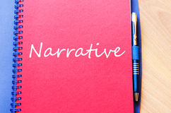 Narrative write on notebook. Narrative text concept write on notebook with pen Royalty Free Stock Photos