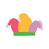 Narrenhoed, joker colorfull hoed met grijze pom-poms royalty-vrije illustratie