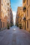 Narrow alley in Barceloneta neighborhood. Barcelona Royalty Free Stock Photography