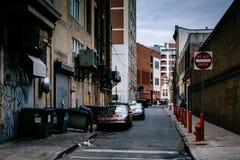 Narrow alley in downtown Philadelphia, Pennsylvania. Stock Images