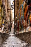 A narrow alley in the Gamla Stan district of Stockholm, Sweden named Mårten Trotzigs gränd,. Mårten Trotzigs gränd is the narrowest street in Gamla royalty free stock photography