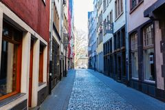 Narrow alley in the historic old town of Cologne, Germany stock photo