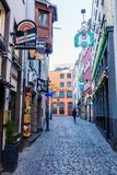 Narrow alley in the historic old town of Cologne, Germany royalty free stock photos