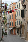 Narrow alley in Kerkyra, Corfu Royalty Free Stock Image
