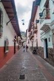 Narrow alley La Ronda in Quito, Ecuador stock photo