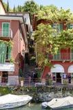 Narrow alley on lake shore, Varenna, Italy Stock Photos