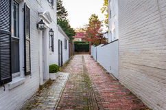 Narrow Alley Lined with Traditional White Buildings Stock Images