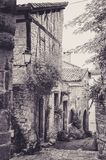 Narrow Alley in the Little Medieval Village of Bruniquel Royalty Free Stock Images