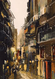 Narrow alley with old buildings. Cityscape painting showing narrow alley with old buildings Stock Image