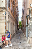 Narrow alley of old city in the historical center Royalty Free Stock Photography