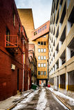 Narrow alley and parking garage in Baltimore, Maryland. Royalty Free Stock Image