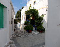 Narrow alley in Paros Island, Greece Royalty Free Stock Image