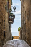 Narrow alley Pienza Stock Photo