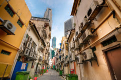 Narrow Alley Between Restaurant Rows Royalty Free Stock Image