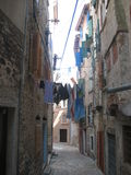 A narrow alley in Rovini Stock Photography