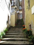 Narrow alley stairway
