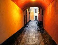 Narrow alley in stockholm Stock Images