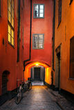 Narrow alley in Stockholm Royalty Free Stock Photo