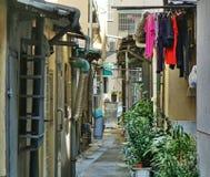 Narrow Alley in Taiwan. Narrow backstreet lane in a city in Taiwan royalty free stock image