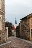 Narrow alley in Tallinn old town. Early morning view of a narrow street in Tallinn's old town, Estonia Stock Photo