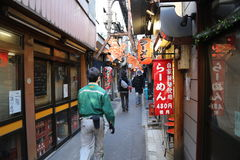 Narrow Alley in Tokyo Royalty Free Stock Photos